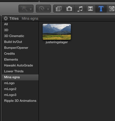 FCPX justeringslager